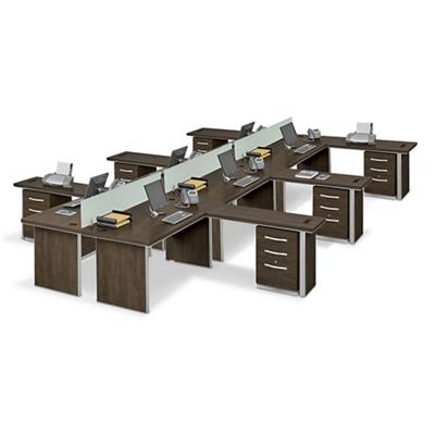 Metropolitan Six L-Desk Benching Set