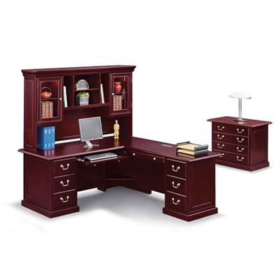 """Cumberland L-Desk with Right Return and Hutch - 72""""W"""