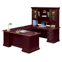 "Cumberland U-Desk with Right Bridge and Hutch - 72""W"