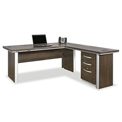 "Metropolitan 72"" Reversible L Desk with Pedestal"