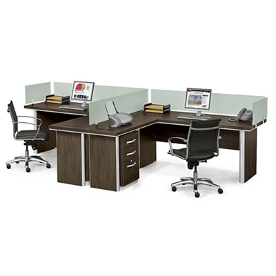 Metropolitan Two L-Desk Benching Set