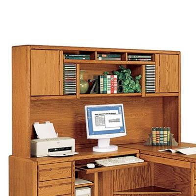 """Medium Oak Two Door Hutch for L-Desk - 79""""W"""