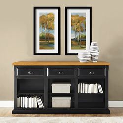 Distressed Black and Oak Open Credenza
