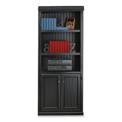 Black and Oak Two Door Bookcase