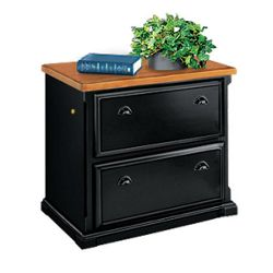 Black and Oak Two Drawer Lateral File