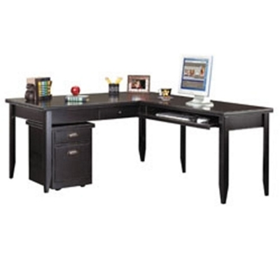 L-Shaped Desk with Mobile File in a Distressed Finish