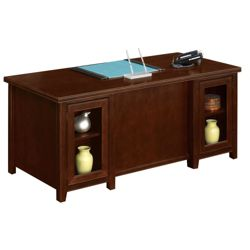 Double Pedestal Desk with Glass Doors