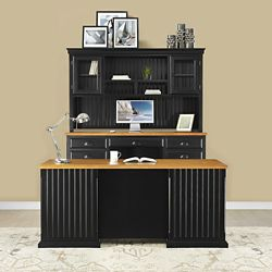 Distressed Black with Oak Complete Desk Group
