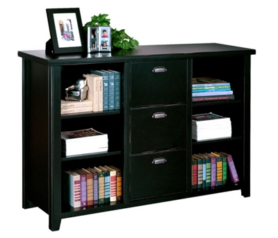 """60"""" W Three Drawer File and Bookcase in Distressed Finish"""
