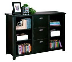 "60"" W Three Drawer File and Bookcase in Distressed Finish"