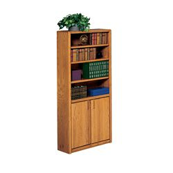 "Medium Oak Bookcase with Doors - 70""H"
