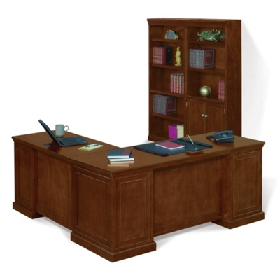 Statesman Executive L-Desk with Bookcase Set