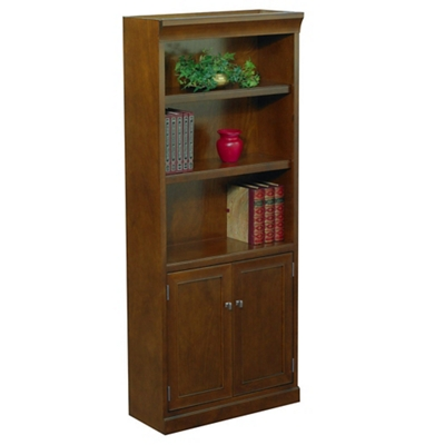 "Statesman 72"" H Five Shelf Veneer Bookcase with Doors"
