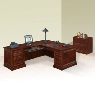 L-Desk with Left Return and Lateral File Set