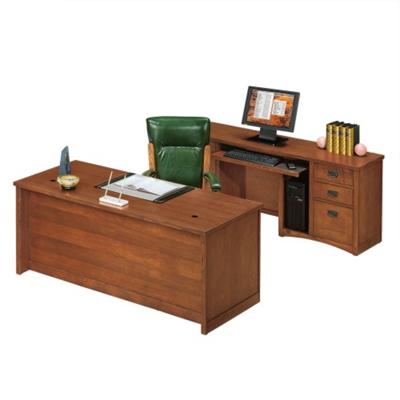 Mission Oak Executive Desk and Credenza Set