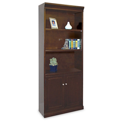 """72"""" H Five Shelf Contemporary Bookcase with Doors"""