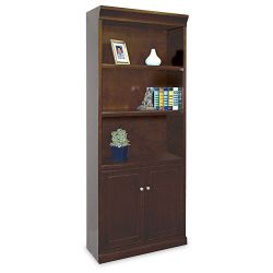 "72"" H Five Shelf Contemporary Bookcase with Doors"