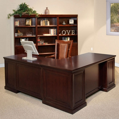 Espresso L-Desk with Set of Bookcases