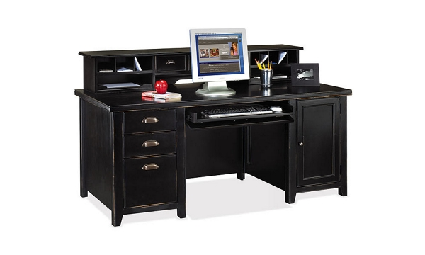 Distressed Finish Computer Desk With Short Hutch 15540 And More
