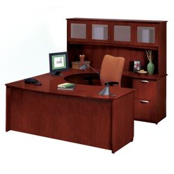 Clever U-Desk with Right Bridge and Hutch