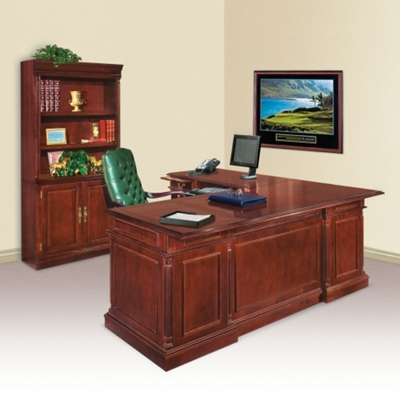 Keswick L-Desk with Left Return and Doored Bookcase