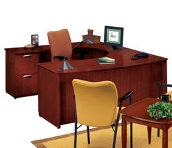 U-Desk with Left Lateral File Credenza