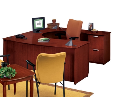 U-Desk with Right Multi-File Credenza