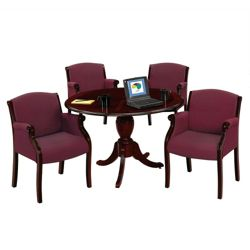 """Keswick 48"""" Round Conference Table and 4 Guest Chairs"""