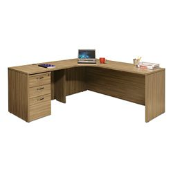 "Wood Grain Corner L-Desk with Left Return and Pedestal - 71""W"