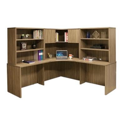 """Wood Grain Corner Desk with Hutches - 77.5""""W"""