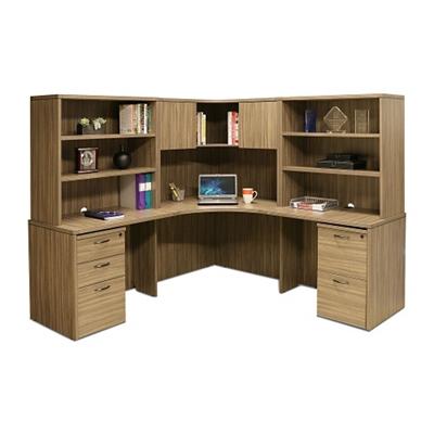 "Wood Grain Corner Desk with Hutches and Pedestals - 77.5""W"