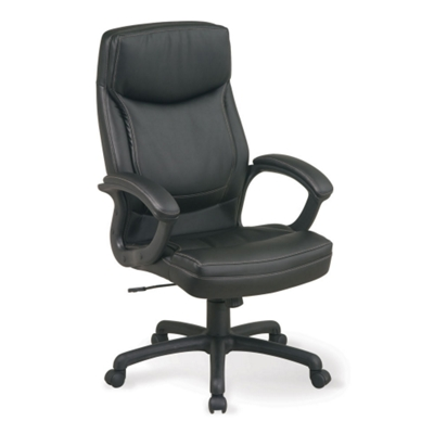 Bonded Leather Executive Chair with Contrast Stitching