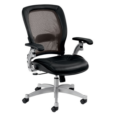 Mesh Mid-Back Ergonomic Chair with Leather Seat