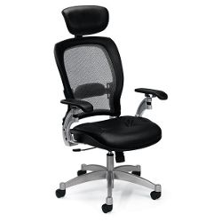 Mesh High-Back Ergonomic Chair with Leather Seat