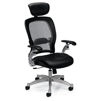 Mesh High Back Ergonomic Chair With Leather Seat 56475