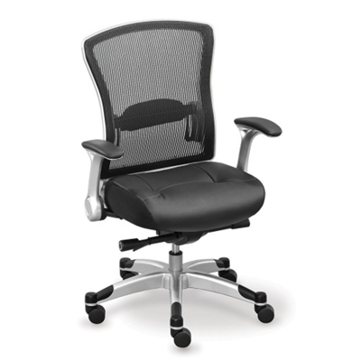 Linear Collection Memory Foam Chair with Mesh Back and Leather Seat