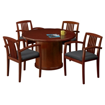 Round Conference Table With Side Chairs And More - Round wood conference table