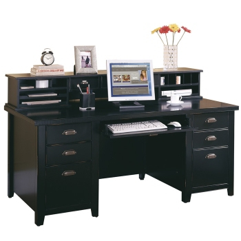 Executive Desk With Storage Hutch In A Distressed Finish 15989 And More Lifetime Guarantee