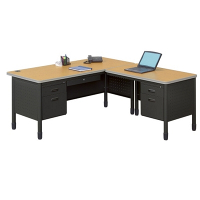 Perforated Metal L-Desk with Right Return