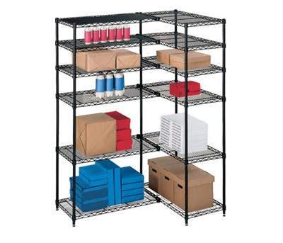 "L-Shaped Storage Unit with 12 Wire Shelves - 54""W x 36""D"
