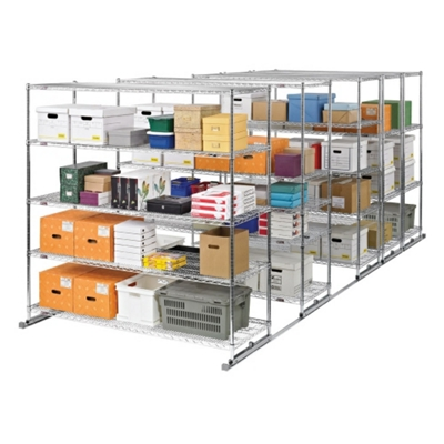 "Space-Saving Storage Track: Set of Five Mobile Shelves 60""W x 24""D"