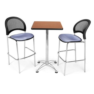 Square Cafe Table with Two Mesh Back Stools