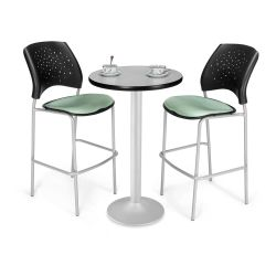 Round Flip-Top Cafe Table with Two Stools