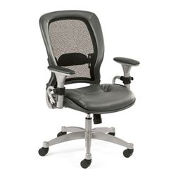 Ergonomic Chair with Gray Leather Seat and Mesh Back