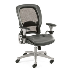 ergonomic chair with gray leather seat and mesh back 56484 and