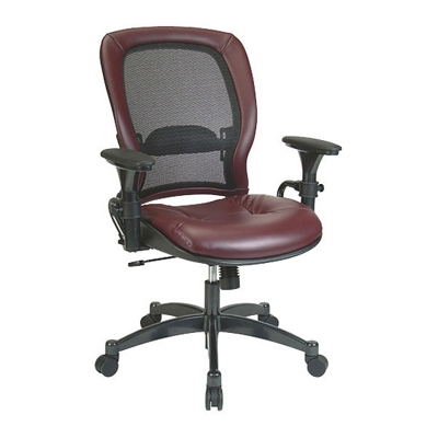 Ergonomic Chair with Leather Seat and Mesh Back