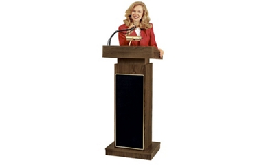 Lectern with Reading Lamp and Microphone