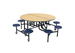 """Round 8 Seat Mobile Cafeteria Table - 29""""H"""