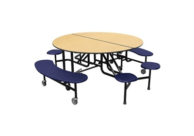 "Round 12 Seat Combo Mobile Cafeteria Table - 27""H"