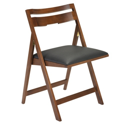 Scoop Folding Chair with Faux Leather Seat